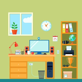 Workspace in room with computer on desk