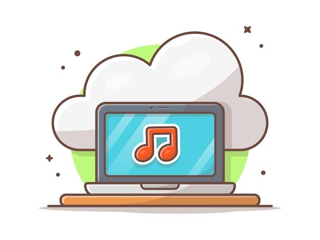 Облако музыка иконка с ноутбуком и примечание музыки. workspace sound cloud белый изолированный
