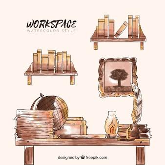 Акварельное оформление рабочего пространства