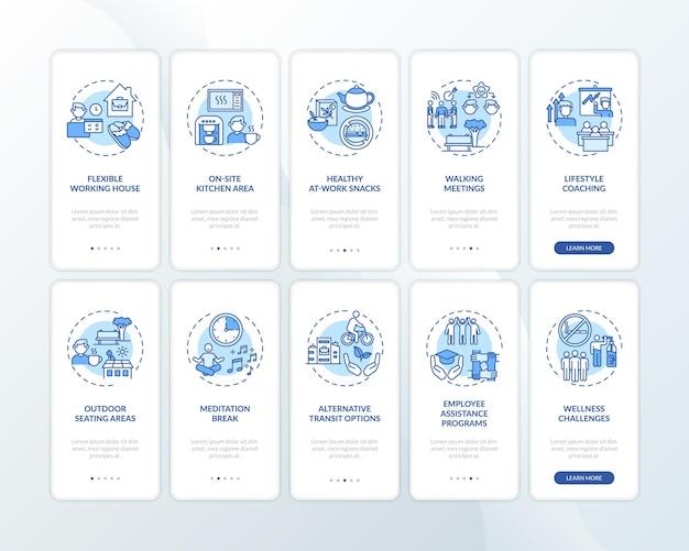 개념이 설정된 워크 스페이스 웰빙 온 보딩 모바일 앱 페이지 화면
