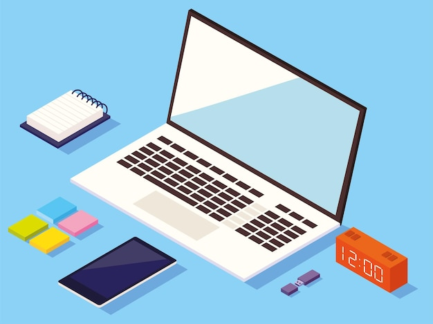 Workspace with computer and supplies. isometric style