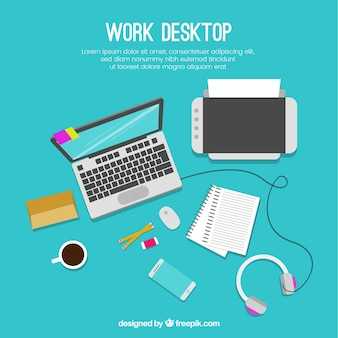 Workspace with laptop and printer