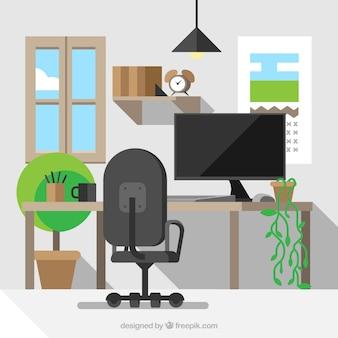 Рабочее пространство с растениями