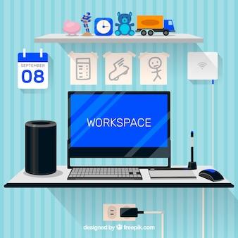 Рабочее пространство с фонами для игрушек