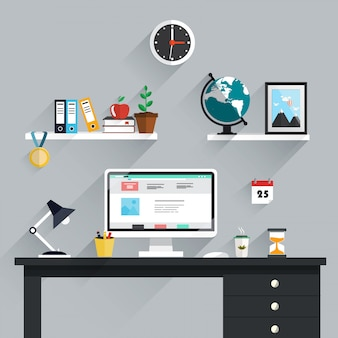 Workspace, workplace icons and elements in minimalistic style and color