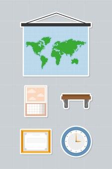Набор иконок декоративных элементов рабочих мест