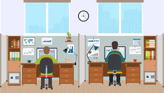 워크스테이션, 직원이 있는 사무실 인테리어. 작업자가 있는 사무실 공간.