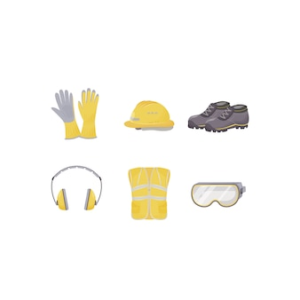 Workwear, personal protective equipment flat color objects set