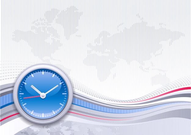 Worl map background with elegant blue clock. abstract design with blue and silver waves. business 3d style graphics.