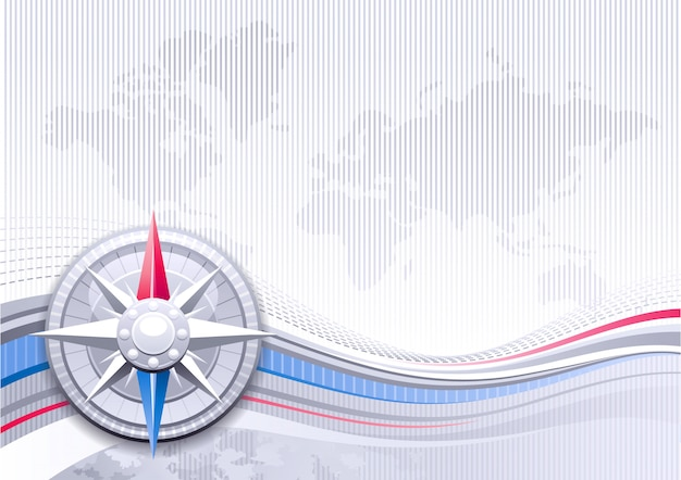 Worl map background with vintage wind rose compass. abstract design with blue and silver waves. business 3d style graphics.