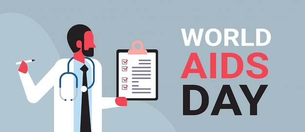 World aids day awareness male doctor hold clipboard paper form medical consultation prevention