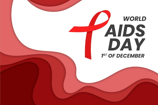 World aids day awareness in paperstyle