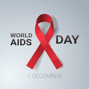 World aids day awareness red ribbon sign 1 december medical prevention
