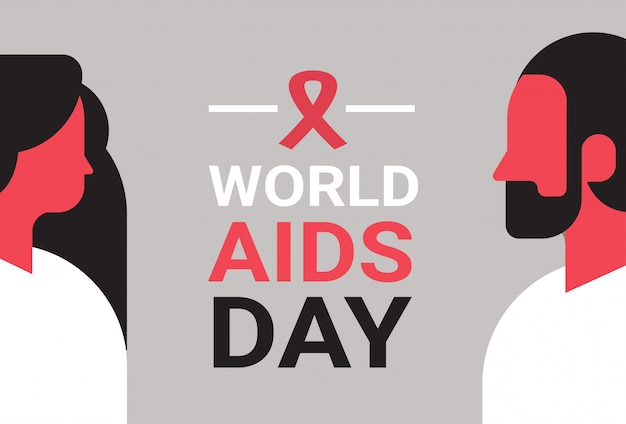World aids day awareness red ribbon sign couple man woman profile portrait medical prevention