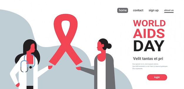 World aids day awareness red ribbon sign female doctor woman consultation prevention