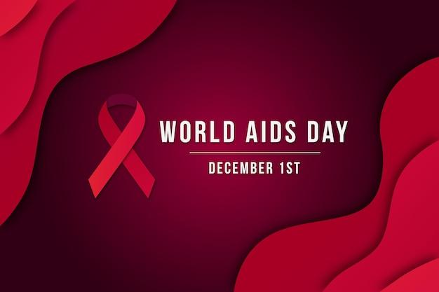 世界エイズデーの背景を紙のスタイルで