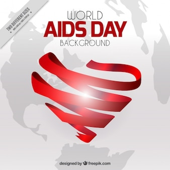 World aids day background with heart made of ribbon