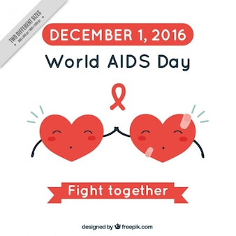 World aids day background with hearts together