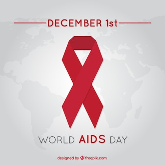 World aids day background with red ribbon in flat design