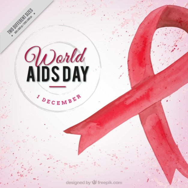 World aids day background with red watercolor ribbon