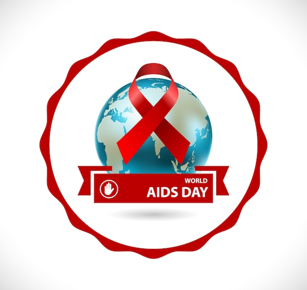 World aids day badge concept icon