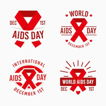 World aids day badges collection with red ribbons