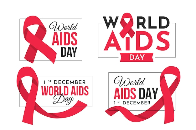 World aids day badges collection
