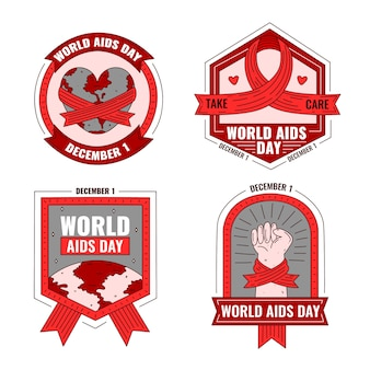 World aids day badges concept