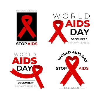 World aids day badges pack with red ribbons