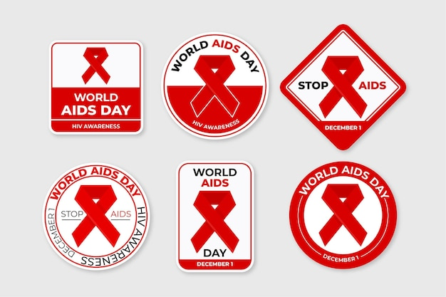 World aids day badges set with red ribbons