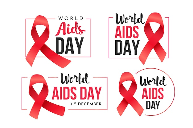 World aids day badges  set