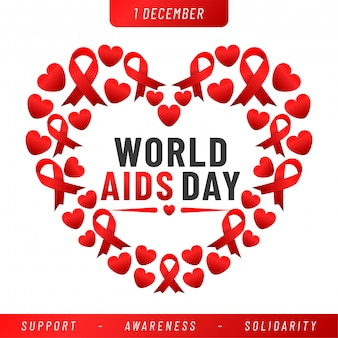 World aids day banner. aids awareness red ribbon.