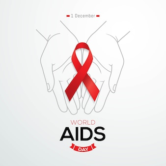 World aids day banner red awareness ribbon