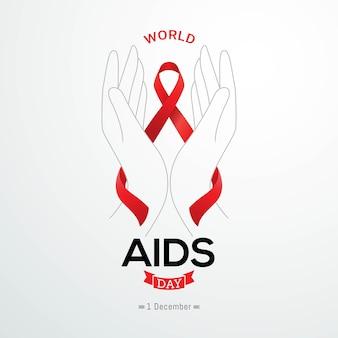 Всемирный день борьбы со спидом баннер красная информационная лента