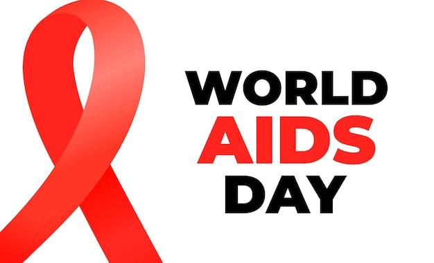 Всемирный день борьбы со спидом баннер с красной атласной лентой.
