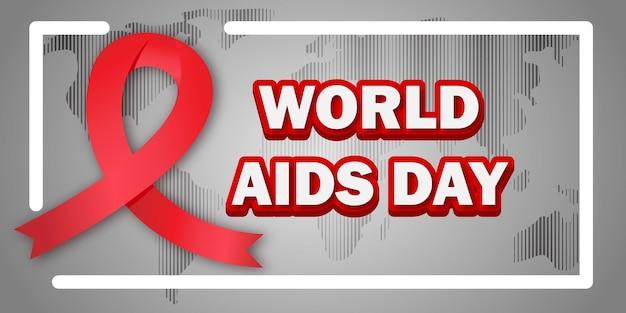 세계 지도 배경으로 세계 에이즈의 날 배너