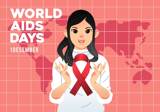World aids day campaign poster, young women with aids logo on her hand and world map at background illustration