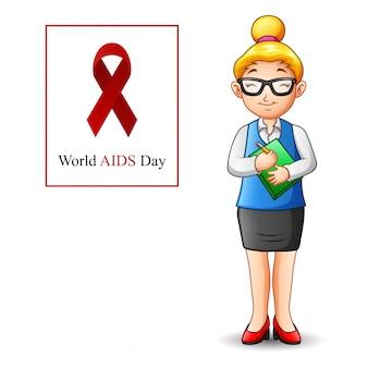 立っている女性と世界エイズデーのコンセプト