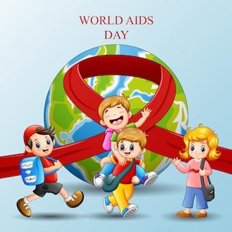 幸せな学校の子供たちと世界エイズデーのコンセプト