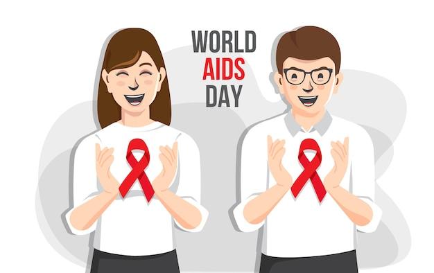 Всемирный день борьбы со спидом пара вместе поддерживает осведомленность о спиде, держась за руки с красной лентой