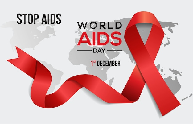 World aids day, december 1st, aids awareness red ribbon.