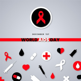 世界エイズデーの要素を紙のスタイルで