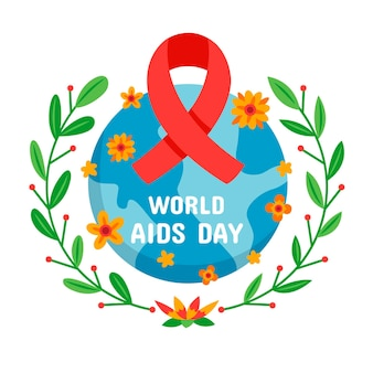 World aids day event illustration with floral ornaments