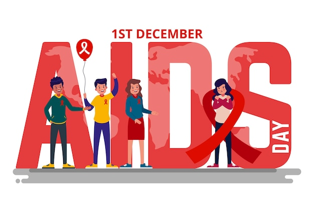 World aids day event illustration