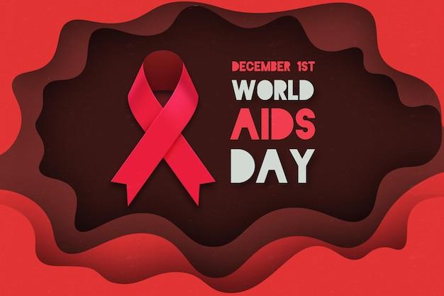 Evento della giornata mondiale contro l'aids in carta da parati in stile carta