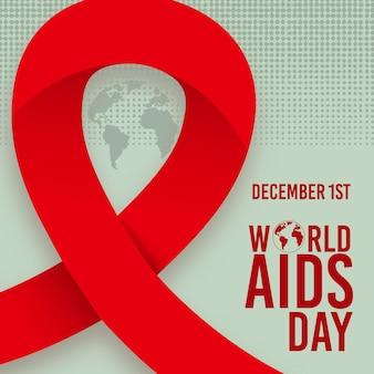 Nastro e testo dell'evento della giornata mondiale contro l'aids