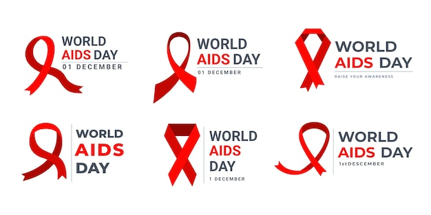 World aids day labels collection