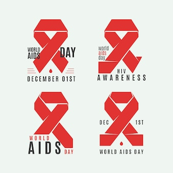 World aids day labels set with red ribbons
