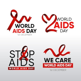 World aids day labels set