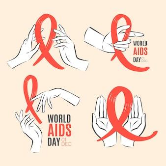 Etichette della giornata mondiale contro l'aids